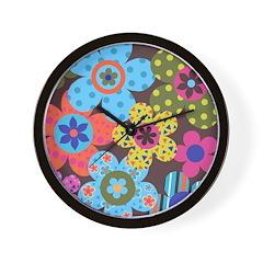 Retro Flowerz Wall Clock