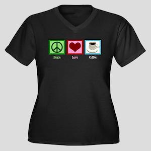 Peace Love Coffee Women's Plus Size V-Neck Dark T-