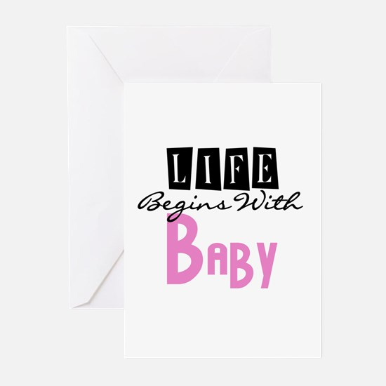 Life Begins With Baby Greeting Cards (Pk of 10