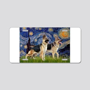 Starry / 2 German Shepherds Aluminum License Plate