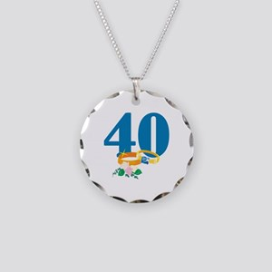40th Anniversary w/ Wedding Rings Necklace Circle