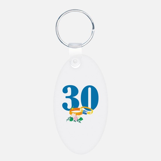 30th Anniversary w/ Wedding Rings Keychains