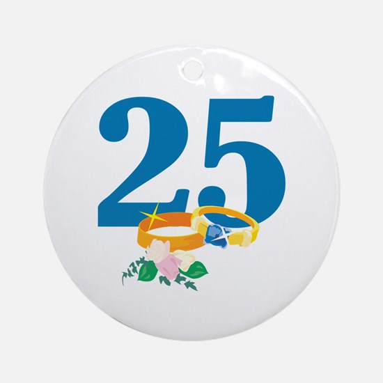25th Anniversary w/ Wedding Rings Ornament (Round)