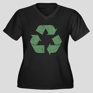 Vintage Recycle Logo Women's Plus Size V-Neck Dark