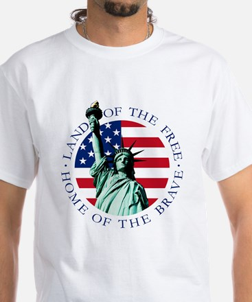 American Flag with Statue of Liberty T-Shirt