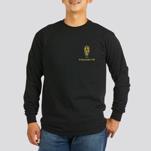 2 Chr 7:14 Gold Cross - Long Sleeve Dark T-Shirt