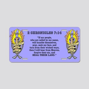 2 Chr 7:14 Gold Cross - Aluminum License Plate