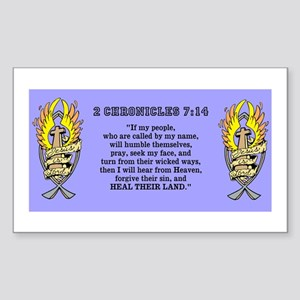 2 Chr 7:14 Gold Cross - Sticker (Rectangle 50 pk)