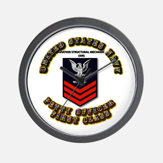 US Navy - AM with text Wall Clock