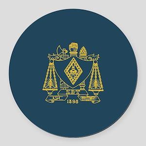 Zeta Beta Tau Fraternity Crest in Round Car Magnet