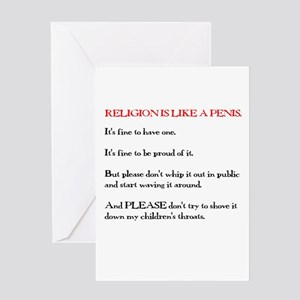 Religion is Like a Penis Greeting Card