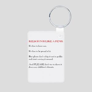 Religion is Like a Penis Aluminum Photo Keychain