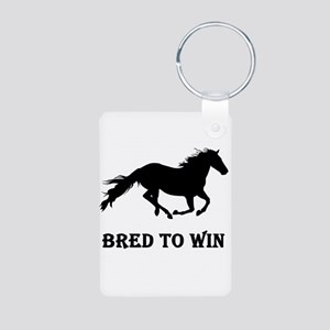 Bred To Win Horse Racing Aluminum Photo Keychain