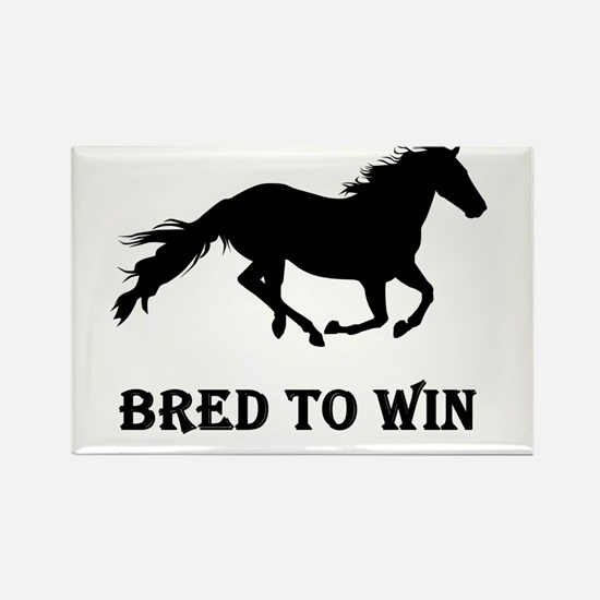 Bred To Win Horse Racing Rectangle Magnet