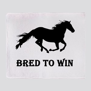 Bred To Win Horse Racing Throw Blanket