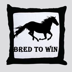 Bred To Win Horse Racing Throw Pillow