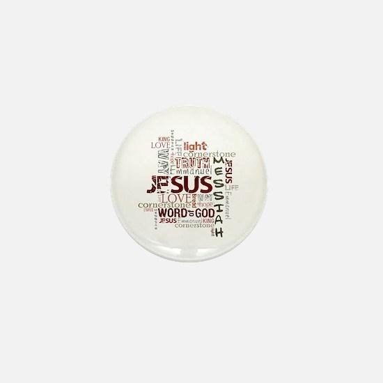 Jesus Word Cloud Mini Button