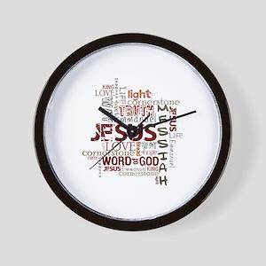 Jesus Word Cloud Wall Clock