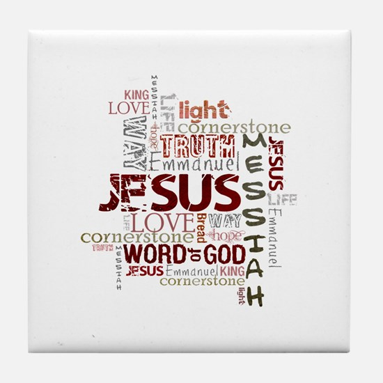 Jesus Word Cloud Tile Coaster