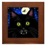 HALLOWEEN BLACK CAT VAMPIRE Framed Tile