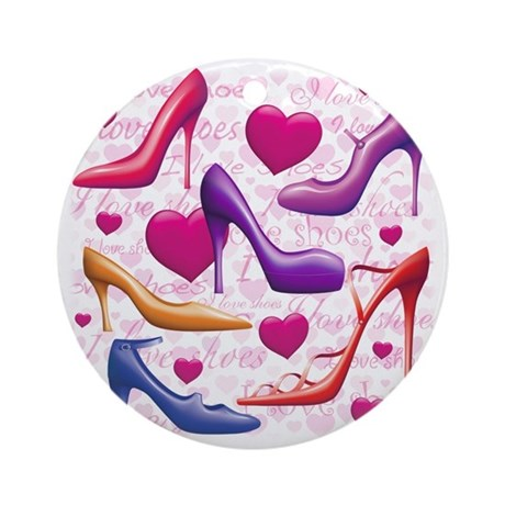 I Love Shoes Ornament (Round)
