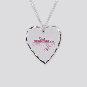 Proud Grandma of an Airman - Necklace Heart Charm