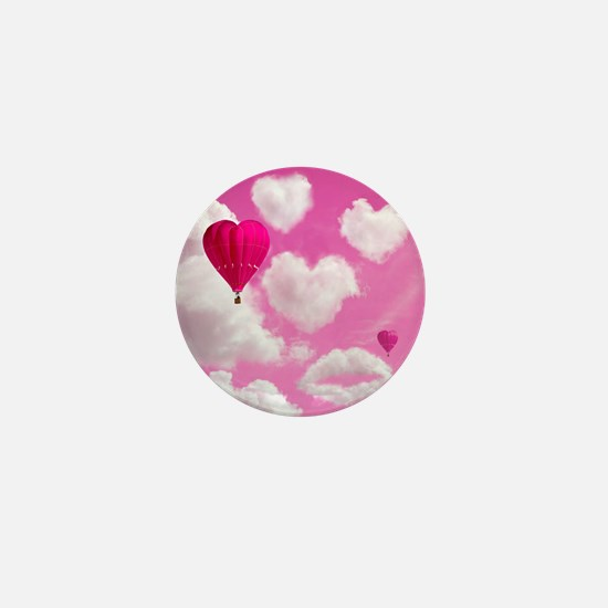 Heart Clouds and Balloon Mini Button