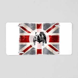 Union Jack and Bulldog Aluminum License Plate