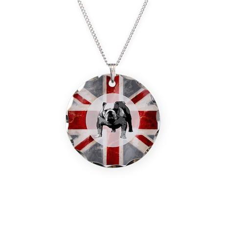 Union Jack and Bulldog Necklace Circle Charm