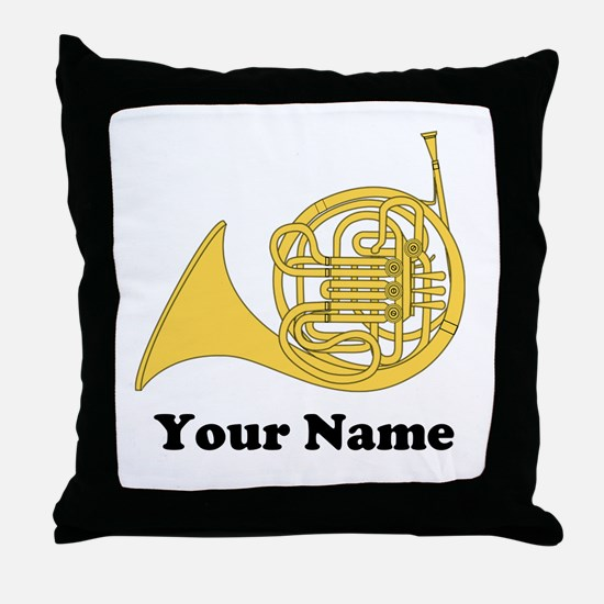 Personalized French Horn Throw Pillow
