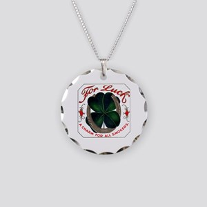 For Luck Cigar Label Necklace Circle Charm