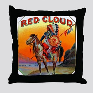 Red Cloud Cigar Label Throw Pillow