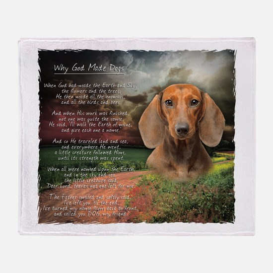 """Why God Made Dogs"" Dachshund Throw Blanket"