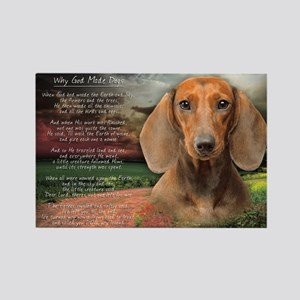"""""""Why God Made Dogs"""" Dachshund Rectangle Magnet"""