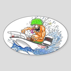 Whaler - Rat Fink Style Sticker (Oval)