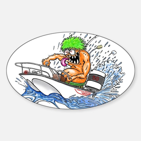 Whaler - Rat Fink Style Sticker (Oval)