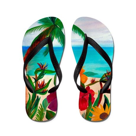 Tropical floral beach Flip Flops