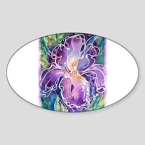 Iris! Purple flower, art! Sticker (Oval)