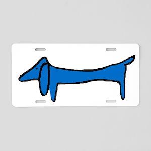 Blue Dachshund Aluminum License Plate