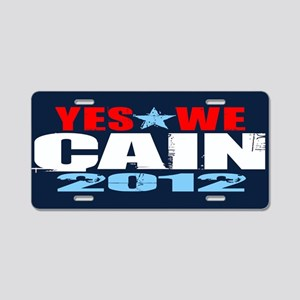 Yes We Cain Aluminum License Plate