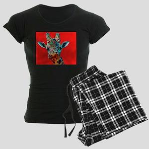 Giraffe Red Background Women's Dark Pajamas