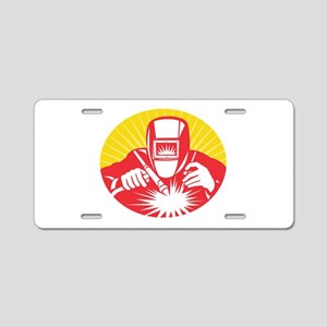 welder welding worker Aluminum License Plate