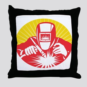 welder welding worker Throw Pillow