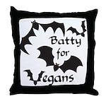 Batty for Vegans Throw Pillow