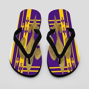 Purple & Gold Fleur de lis Flip Flops