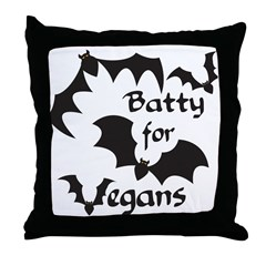 Batty for Vegans Throw Pillow