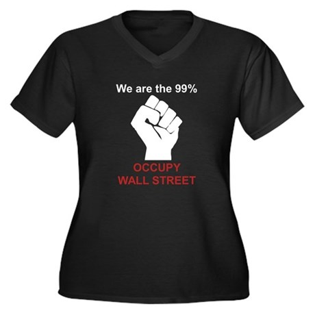 Occupy Fist Women's Plus Size V-Neck Dark T-Shirt