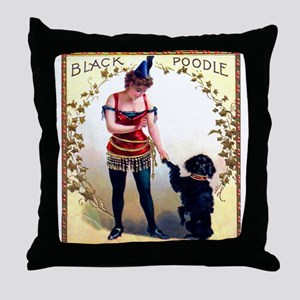 Black Poodle Cigar Label Throw Pillow