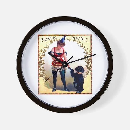 Black Poodle Cigar Label Wall Clock