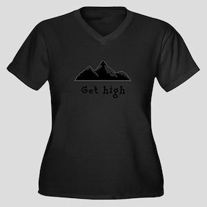Get High Mountains Women's Plus Size V-Neck Dark T
